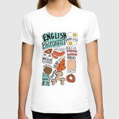 English Breakfast Womens Fitted Tee White SMALL