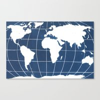 Navy Map of the World Canvas Print