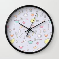 Cooking Pattern Wall Clock