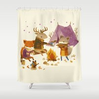 Critters: Fall Camping Shower Curtain