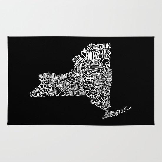 Typographic New York Area & Throw Rug