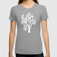 Solo Tree White on Black Womens Fitted Tee Tri-Grey SMALL