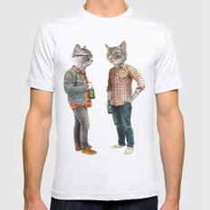 A Cats Night Out Mens Fitted Tee Ash Grey SMALL