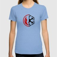 The Dark And The Light Womens Fitted Tee Tri-Blue MEDIUM