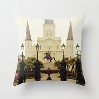 New Orleans Looking Through Jackson Square Throw Pillow