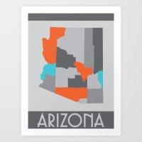 Arizona State Map Print Art Print