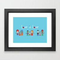 Love is Love Blue - We Are All Equal Framed Art Print