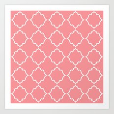 Moroccan White and Coral Art Print