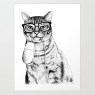 Art Print featuring Mac Cat by Florever