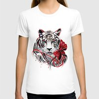 tiger T-shirts featuring White Tiger by Felicia Atanasiu