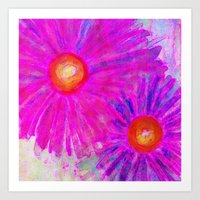 Bright Pink Sketch Flowe… Art Print