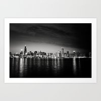Chicago Skyline at Night Art Print