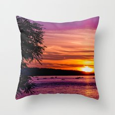 Sunset Over the Beach  Throw Pillow
