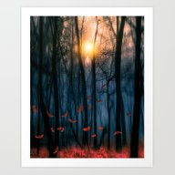 Red Feather Dance  (colo… Art Print