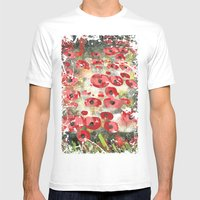 Angela's Poppies Mens Fitted Tee White SMALL