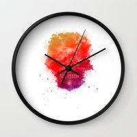 Rainbow Splatter Skull Wall Clock