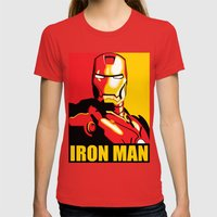 Iron Man Womens Fitted Tee Red SMALL
