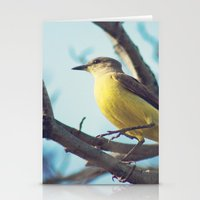 Yellow-Bellied Bird (Retro - Vintage Bird on blue sky) Stationery Cards