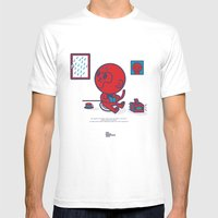 The Monkey And The Rain Mens Fitted Tee White SMALL