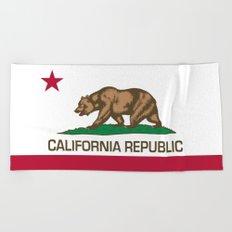 California Republic state flag - Authentic Version Beach Towel