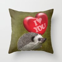 Hedgehog In Love With A … Throw Pillow