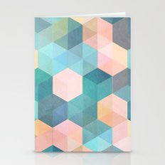 Child's Play 2 - hexagon pattern in soft blue, pink, peach & aqua Stationery Cards