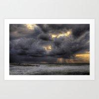 Ray of light through the clouds above the Mediterranean sea, Tel-Aviv, Israel Art Print