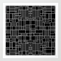 Map Lines Silver Art Print