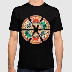 Pizza Slice Cats  Mens Fitted Tee Black SMALL