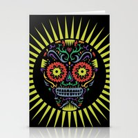 Sugar Skull SF multi -  black Stationery Cards