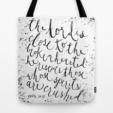 PSALM 34:18 (Black and White) Tote Bag