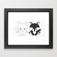 Twins Fox Framed Art Print