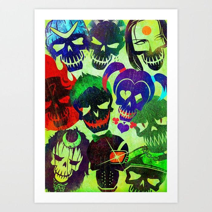 Suicide Squad Skulls Art Print