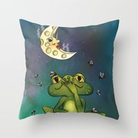 Frog And Stinky Moon Throw Pillow
