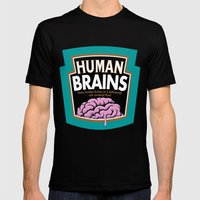 Human Brains Mens Fitted Tee Black SMALL
