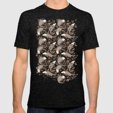 Opossum and Roses Mens Fitted Tee Tri-Black SMALL