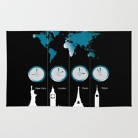 TIME ZONES. NEW YORK, LONDON, PARIS, TOKYO Rug