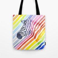 Zebra Rainbow Stripes Camouflage Tote Bag