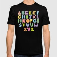 Dogs alphabet Mens Fitted Tee Black SMALL