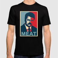 Ron Swanson - Meat Mens Fitted Tee Black SMALL
