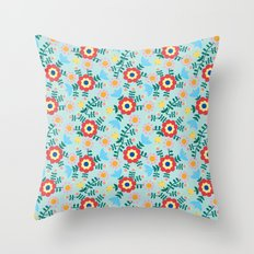 Folk Floral (blue) Throw Pillow