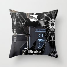Broken, rupture, damaged, cracked black apple iPhone 4 5 5s 5c, ipad, pillow case and tshirt Throw Pillow
