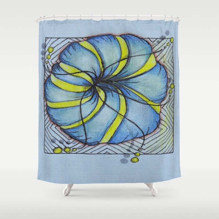 Blue And Yellow Zentangle Flower Shower Curtain By Vermont Greetings Society6