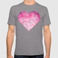 Hard Line Heart Bokeh Mens Fitted Tee Tri-Grey SMALL