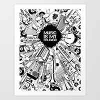 Music is my religion. Art Print