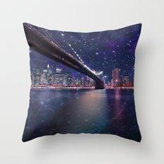 Spacey Manhattan Skyline  Throw Pillow