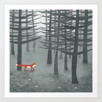 forest Art Prints featuring The Fox and the Forest by Nic Squirrell