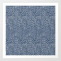 Hand Knit Navy Art Print