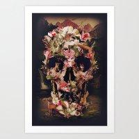 skull Art Prints featuring Jungle Skull by Ali GULEC