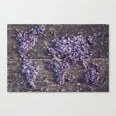 Lilac world map Canvas Print